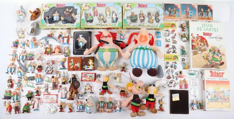 Collection of Vintage Asterix figures and collectibles